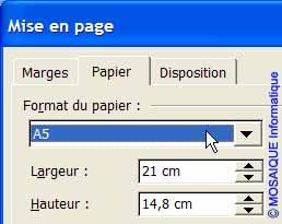 Le choix du format de papier - Word - MOSAIQUE Informatique - France - Lorraine - Meurthe et Moselle - 54 - Nancy - La mise en page