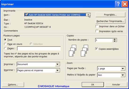 La boîte de dialogue Imprimer - Word - MOSAIQUE Informatique - Lorraine - Meurthe et Moselle - 54 - Nancy