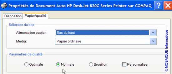 L'onglet  Papier/qualité de la boîte de dialogue Propriétés de Document - Word - MOSAIQUE Informatique - Lorraine - Meurthe et Moselle - 54 - Nancy