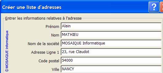 La saisie du premier contact - Word - MOSAIQUE Informatique - Lorraine - Meurthe et Moselle - 54 - Nancy