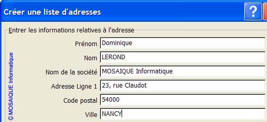 Un second contact est ajouté - Word - MOSAIQUE Informatique - Lorraine - Meurthe et Moselle - 54 - Nancy