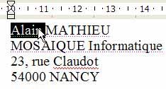 La sélection du mot - Word - MOSAIQUE Informatique - Lorraine - Meurthe et Moselle - 54 - Nancy