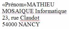 Le prénom a été remplacé par le champ - Word - Formation informatique - Lorraine - Meurthe et Moselle - 54 - Nancy - MOSAIQUE Informatique