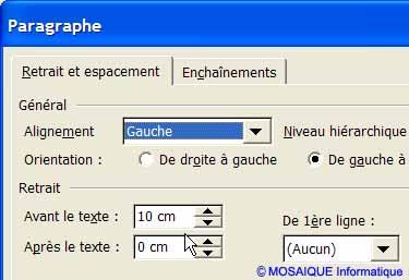 La boîte de dialogue Paragraphe - Word - MOSAIQUE Informatique - Lorraine - Meurthe et Moselle - 54 - Nancy
