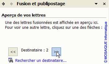 Ces boutons permettent de prévisualiser les documents qui seront générés - Word - Formation informatique - Lorraine - Meurthe et Moselle - 54 - Nancy - MOSAIQUE Informatique
