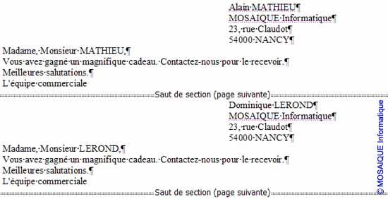 Le résultat de la fusion - Word - Formation informatique - Lorraine - Meurthe et Moselle - 54 - Nancy - MOSAIQUE Informatique
