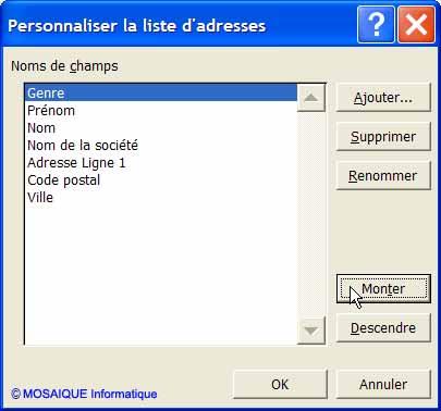 La boîte de dialogue Personnaliser la liste d'adresses - Word - Formation informatique - Lorraine - Meurthe et Moselle - 54 - Nancy - MOSAIQUE Informatique