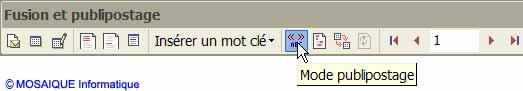 Le bouton Mode publipostage - Word - Formation informatique - Lorraine - Meurthe et Moselle - 54 - Nancy - MOSAIQUE Informatique
