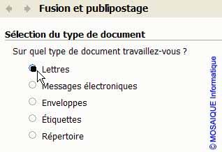 Le volet Fusion et publipostage - Word - MOSAIQUE Informatique - Lorraine - Meurthe et Moselle - 54 - Nancy