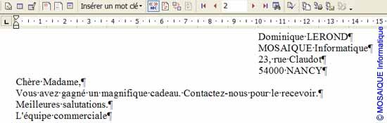 Le résultat final - Word - Formation informatique - Lorraine - Meurthe et Moselle - 54 - Nancy - MOSAIQUE Informatique