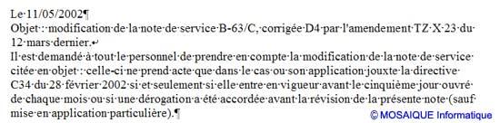 Une note de service particulièrement claire ! - Word - MOSAIQUE Informatique - Formations informatiques et création de sites web - 54 - Nancy - Meurthe et Moselle - Lorraine