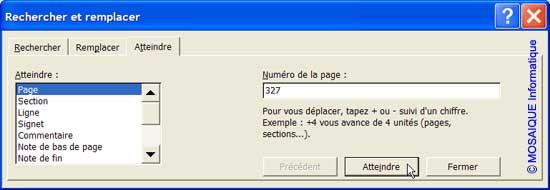 La façon la plus rapide d'atteindre la page 327 - Word - MOSAIQUE Informatique - Formations informatiques et création de sites web - 54 - Nancy - Meurthe et Moselle - Lorraine