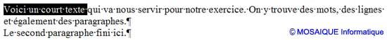 La sélection d'une zone de texte quelconque - Word - MOSAIQUE Informatique - Formations informatiques et création de sites web - 54 - Nancy - Meurthe et Moselle - Lorraine