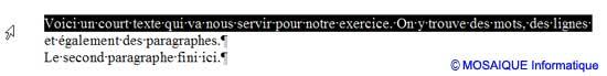 La sélection d'une ligne - Word - MOSAIQUE Informatique - Formations informatiques et création de sites web - 54 - Nancy - Meurthe et Moselle - Lorraine