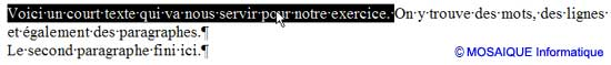 La sélection d'une phrase - Word - MOSAIQUE Informatique - Formations informatiques et création de sites web - 54 - Nancy - Meurthe et Moselle - Lorraine