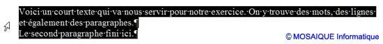La sélection de tout le document - Word - MOSAIQUE Informatique - Formations informatiques et création de sites web - 54 - Nancy - Meurthe et Moselle - Lorraine