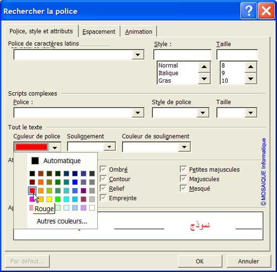 Vous recherchez tous les caractères en rouge - Tutoriel Word - MOSAIQUE Informatique - Formations informatiques et création de sites web - 54 - Nancy - Meurthe et Moselle - Lorraine