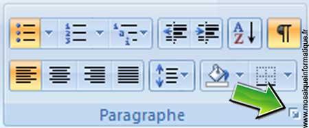 Le Lanceur de boîte de dialogue du groupe Paragraphes sous Word 2007 - MOSAIQUE Informatique - Nancy - www.mosaiqueinformatique.fr