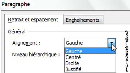 La modification de l'alignement des paragraphes depuis la boîte de dialogue Paragraphe sous Word 2007 - MOSAIQUE Informatique - Nancy - www.mosaiqueinformatique.fr