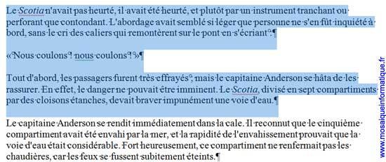 Un groupe de paragraphes est sélectionné sous Word 2007 - MOSAIQUE Informatique - Nancy - www.mosaiqueinformatique.fr