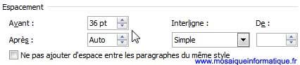 L'affectation de la valeur d'un espace avant les paragraphes sous Word 2007 - MOSAIQUE Informatique - Nancy - www.mosaiqueinformatique.fr