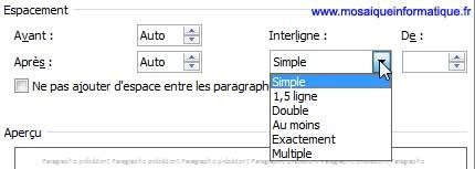 Le choix d'un type d'interlignage sous Word 2007 - MOSAIQUE Informatique - Nancy - www.mosaiqueinformatique.fr