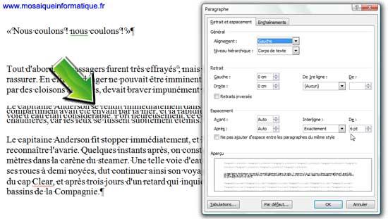 Ce type d''interlignage autorise les chevauchements de lignes sous Word 2007 - MOSAIQUE Informatique - Nancy - www.mosaiqueinformatique.fr