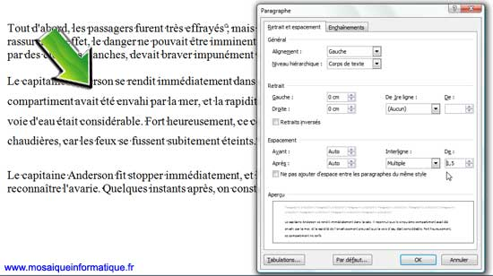 L'interlignage Multiple sous Word 2007 - MOSAIQUE Informatique - Nancy - www.mosaiqueinformatique.fr