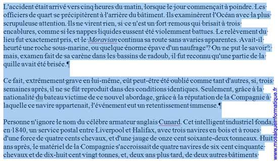 Trois paragraphes sont sélectionnés sous Word 2007 - MOSAIQUE Informatique - Nancy - www.mosaiqueinformatique.fr