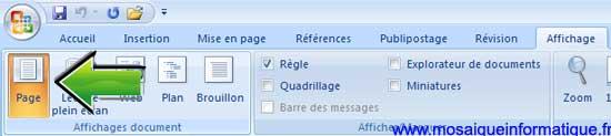 Le bouton Page dans l'onglet Affichage sous Word 2007 - MOSAIQUE Informatique - Nancy - www.mosaiqueinformatique.fr