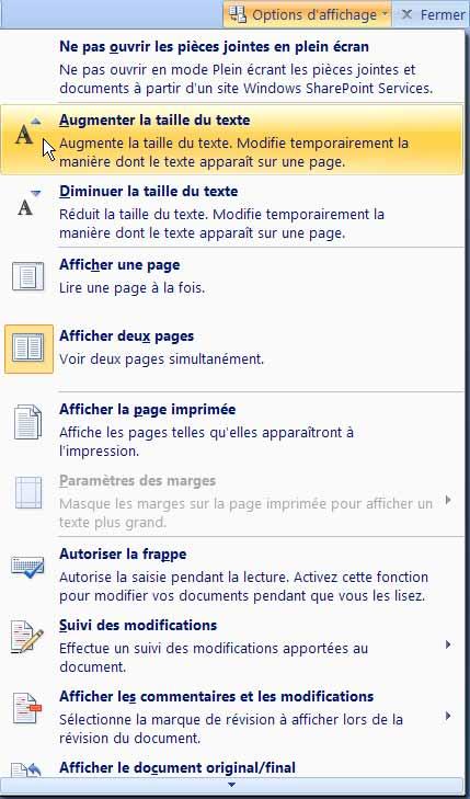 Formation Word 2007 - Les options proposées dans le menu du bouton Options d'affichage
