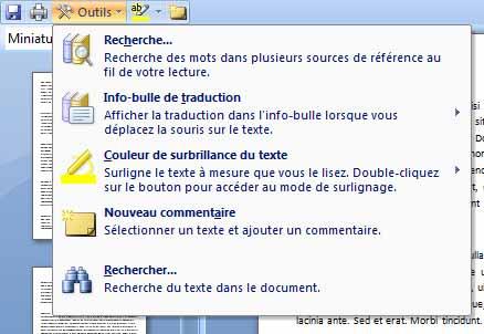 Didacticiel Word 2007 - Les traitements proposés, lorsque le bouton Outils est cliqué