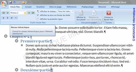 Cours Word 2007 - La zone Niveau hiérarchique