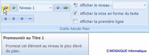 Word 2007 - Le bouton Promouvoir au Titre 1
