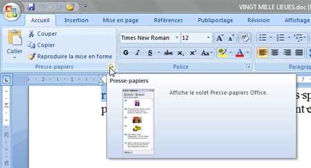 Le bouton Presse-papiers de Word 2007 - MOSAIQUE Informatique - Nancy