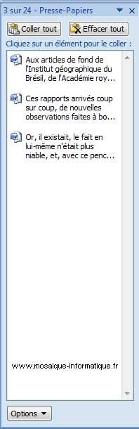 Le volet Presse-papiers de Word 2007 - MOSAIQUE Informatique - Nancy