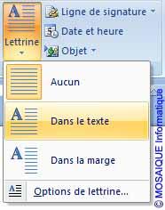 Cours Word 2007 - Le positionnement de la Lettrine