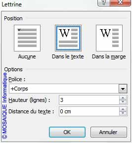 Cours Word 2007 - La boîte de dialogue Lettrine