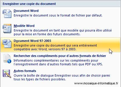Les options d'enregistrement de Word 2007 - MOSAIQUE Informatique - Nancy