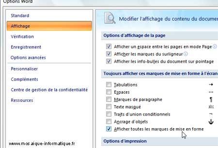 L'affichage des marques de mise en forme sous Word 2007 - MOSAIQUE Informatique - Nancy