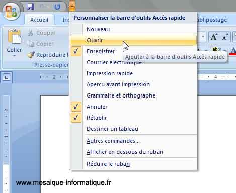 La barre d'outils Accès rapide de Word 2007 - MOSAIQUE Informatique - Nancy