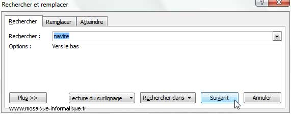 La boîte de dialogue Rechercher et remplacer sous Word 2007 - MOSAIQUE Informatique - Nancy - www.mosaique-informatique.fr