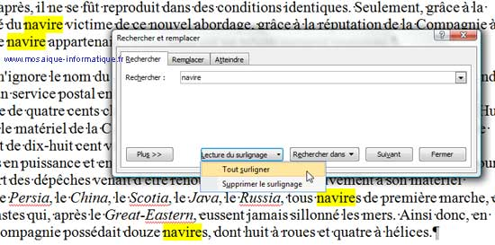 Le surlignage de tous les mots recherchés sous Word 2007 - MOSAIQUE Informatique - Nancy - www.mosaique-informatique.fr