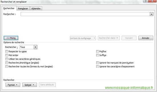 Les options de recherche avancée sous Word 2007 - MOSAIQUE Informatique - Nancy - www.mosaique-informatique.fr