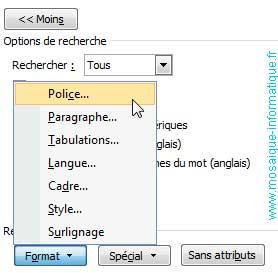 La recherche d'une mise en forme sous Word 2007 - MOSAIQUE Informatique - Nancy - www.mosaique-informatique.fr
