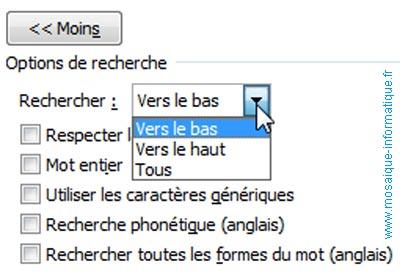 Le choix du sens de la recherche sous Word 2007 - MOSAIQUE Informatique - Nancy - www.mosaique-informatique.fr