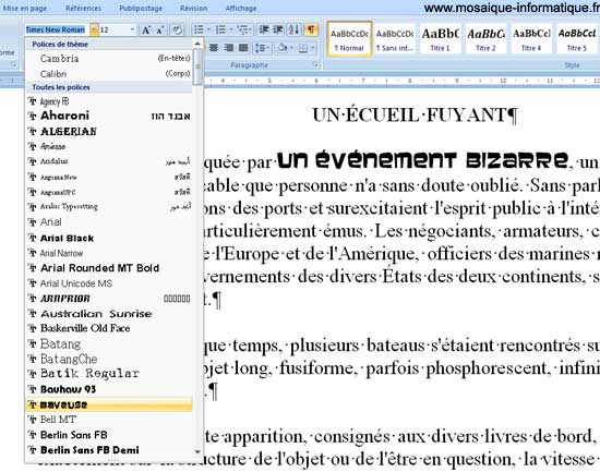 Le choix d'une police de caractères sous Word 2007 - MOSAIQUE Informatique - Nancy