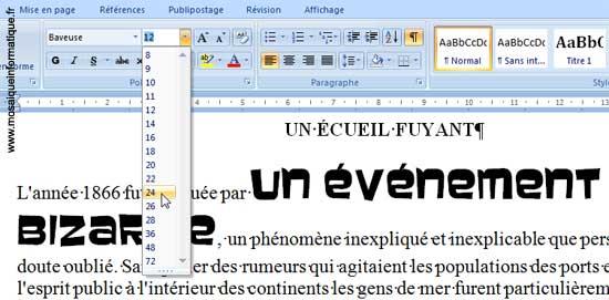 Le choix d'une taille de police de caractères sous Word 2007 - MOSAIQUE Informatique - Nancy