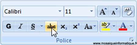Les boutons Barré, Indice et Exposant sous Word 2007 - MOSAIQUE Informatique - Nancy