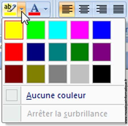 Le choix de la couleur de surbrillance du texte sous Word 2007 - MOSAIQUE Informatique - Nancy